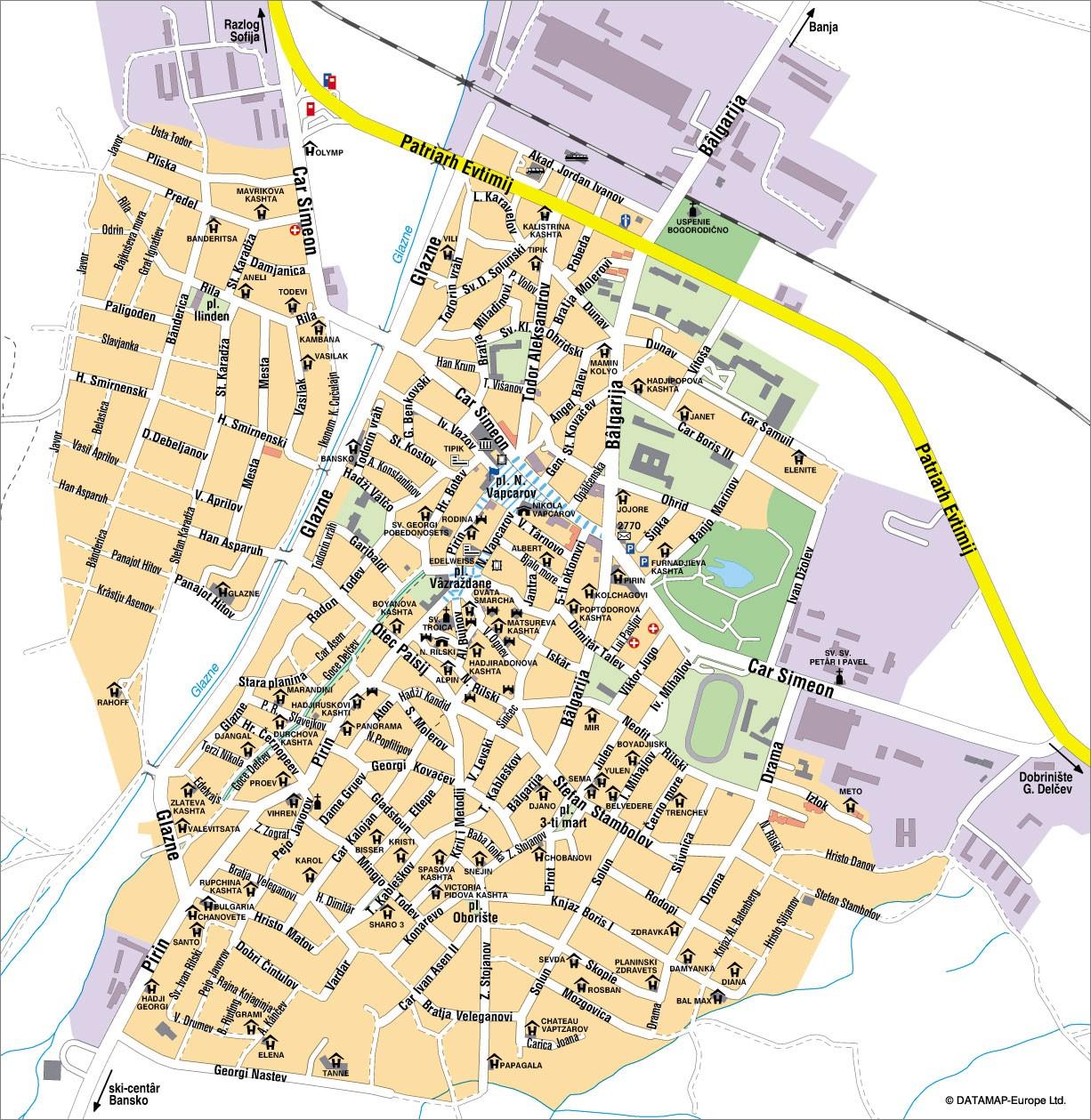 Bansko Map Of The Town Hotels Streets Bulgariaski