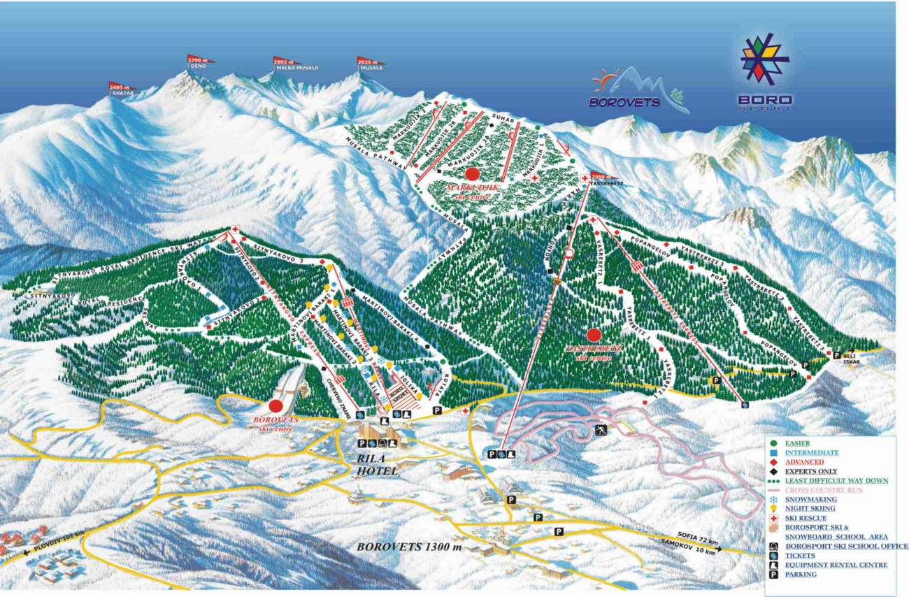 Borovets Ski Map Borovets piste map and ski area — BulgariaSki Borovets Ski Map