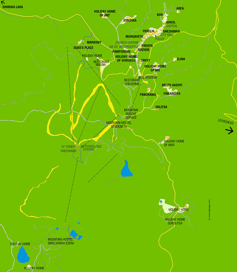 Karta Na Bulgaria.Pamporovo Map Of Hotels Attractions And Institutions Bulgariaski